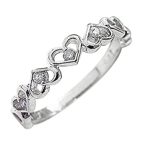 [ジュエリーアイ] ピンキーリング ハート ダイヤモンド リング ダイヤリング ハートの指輪 ホワイトゴールドK10 K10WG 2.5号