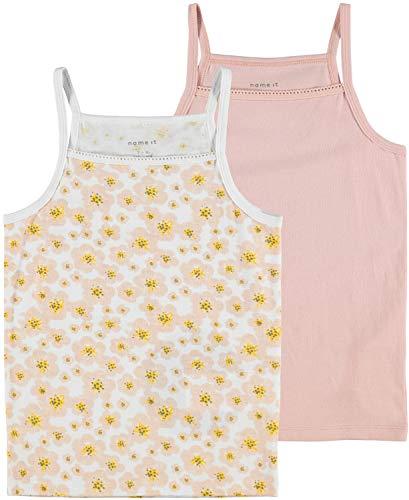 NAME IT Mädchen Nkfstrap Top 2p Silver Pink Flower Trägershirt/Cami Shirt, 134-140 (2er Pack)