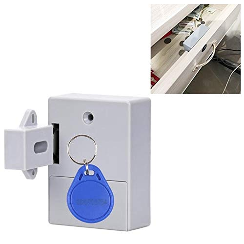 Magnetic Card Induction Lock Low Power Consumption T3 ABS Invisible Folio Cupboard Door Lock with Shutter(Grey) (Color : Grey)