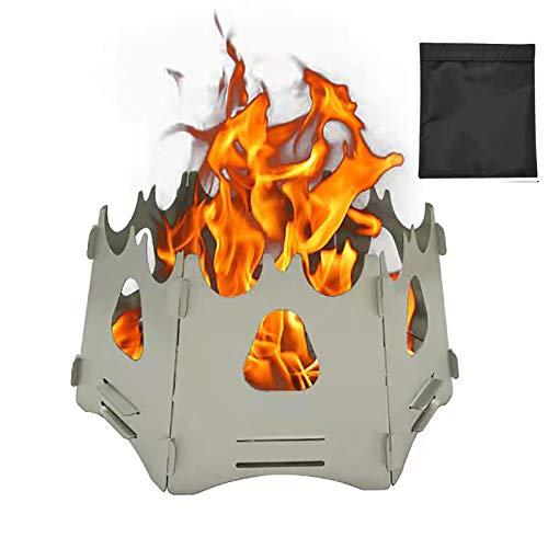 【最新設計】ミニ焚き火台 薪ストーブ バーベキュー用軽量折り畳み式 六面 コンパクトステンレス製アルコールス木材燃焼ストーブ 収納袋付き アウトドア屋外キャンプ/ハイキング/ピクニック