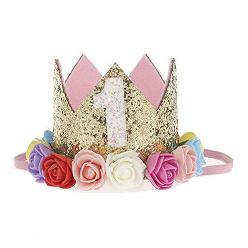 NiceButy la niña de la Princesa Corona Diadema 1 año del cumpleaños Tiara Sombrero con Flores del Arco Iris de Colores Juguete Divertido para los niños