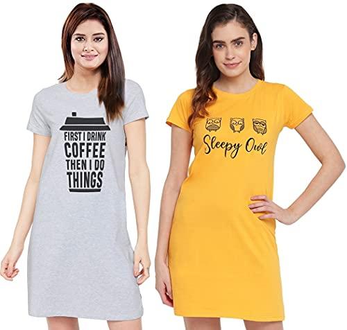 XOYA Printed Short Night Dress for Women/Cotton Nighty - Musturd & Grey 2 Pc Combo - M