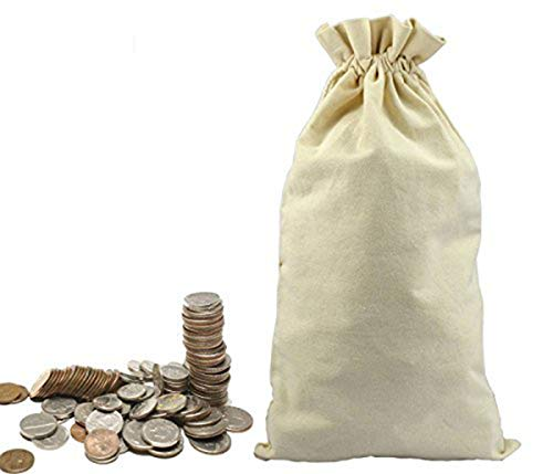 Lanyani 3 Canvas Coin Money Sacks Bag 10 by 17 inches Bank Deposit Change Transit Draw Strings, Heavy Duty