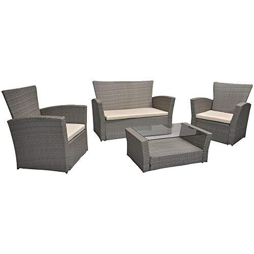 Am Group Home Set Mobili Giardino 4 posti con tavolino, poltroncine, divanetto in polyrattan Esterno Giardino, Salottino da Giardino - Saturno (Tortora)