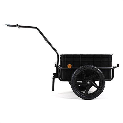 Duramaxx Big Black Mike - Remorque pour vélos, Capacité :70 L, Panier Amovible, Châssis en Acier, Traction : 40kg Max, Bâche imperméable, Utilisable comme Chariot à Main, Noir