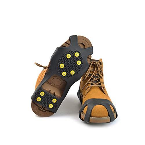 HLIANG Crampones Rubber 10 Studs Antideslizante Antideslizante Antideslizante Hielo Pinza de montañismo Tamaño de Escalada 31~48 Botas de Invierno Spike Simple Gripper 050 (Shoe Size : S 31 36)