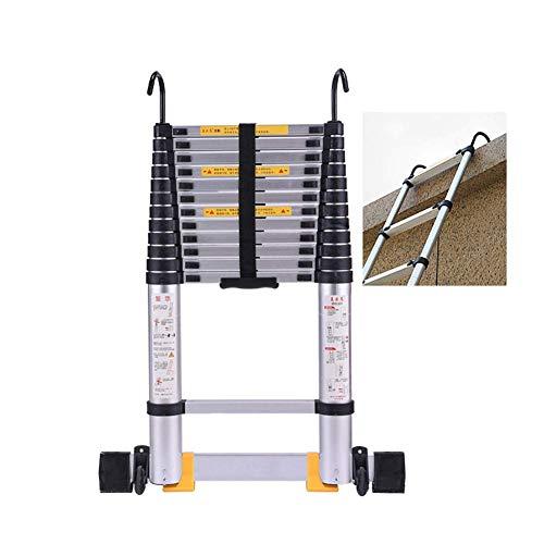 JHNEA Escalera Telescópica, Portátil {Aluminio 2} Extensible Antideslizante Escalera del hogar con Ganchos y Barra estabilizadora de Apoyo 330lbs,3.8m/12.5ft