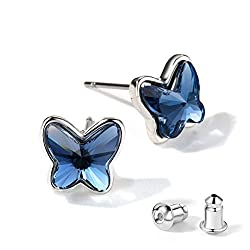 Stud Blue Crystal Butterfly Lever Back Earring
