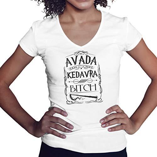 Avada Kedavra Bitch Camisa Blanca de Cuello en V para Mujer Size S