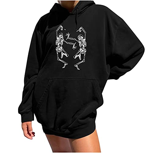Halloween Sweaters for Women Skeleton Trendy Funny Prints Long Sleeve Shirts Workout Crewneck Sweatshirts with Pocket