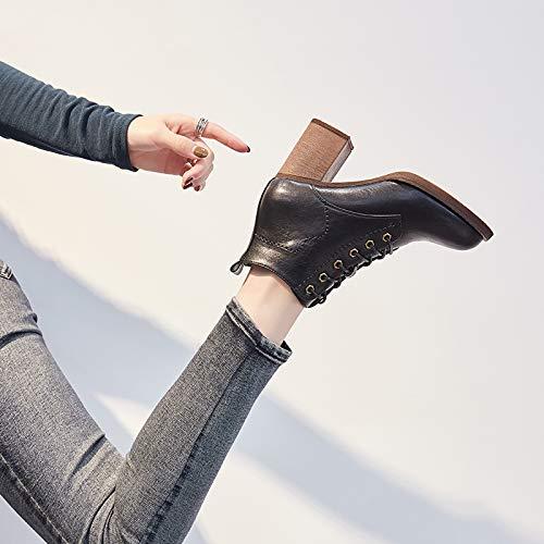 Shukun enkellaarsjes dik met kleine laarzen, damesherfst en winter schoenen met hoge hakken, puntige Martin laarzen, dameslaarzen, zwart