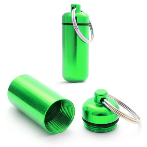 Ganzoo Pilulier, Capsule 2 pièces en Aluminium, imperméable, Porte-clés Stockage, Vert