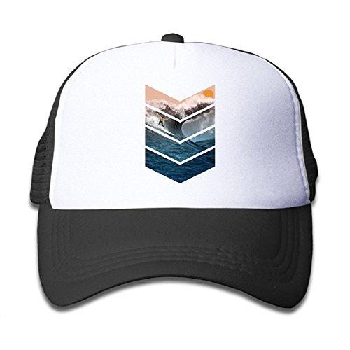 Waldeal Boys Girls Sunrise Surfer Kids Trucker Hats Toddler Baseball Mesh Cap Black