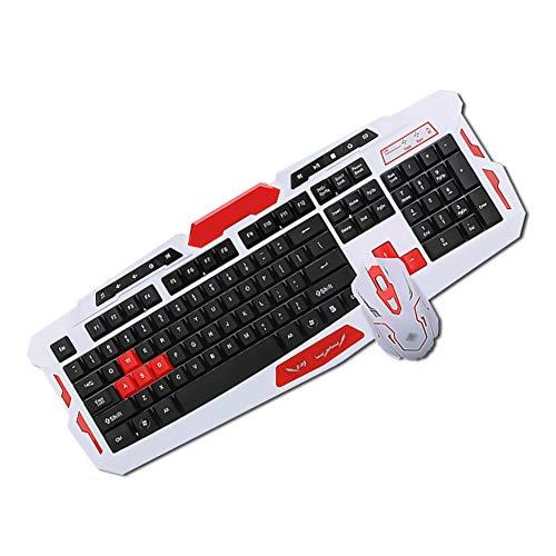 YYZLG draadloze muis en toetsenbord instellen snel responsief, ideaal voor typen, kantoor, dagelijks spel toetsenbord en muis Set, size, Whitered