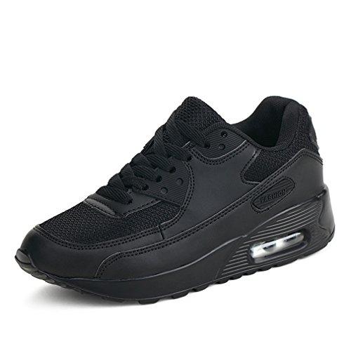 Mujer Zapatillas de Deporte con Amortiguación de Aire Zapatos con Cordones Transpirables para Caminar Correr Negro EU 42