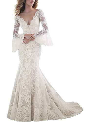 HUINI Damen Brautkleid Meerjungfrau mit Spitze Rückenfrei Ballkleider Abendkleider Hochzeit Lang V-Ausschnitt Mermaid Kleid Langarm Rüsche Elfenbein MaßAnfertigung