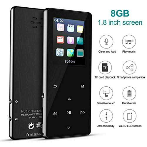 Yiwa MP3-speler, draagbaar, K1, Touch, metaal, extern, 1,8 inch, met houder, FM, Hi-FI lossless tot 128 GB, zwart 8 GB