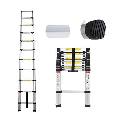 3,2m Teleskopleiter Aluleiter Dachbodenleiter Ausziehbare Stufen Mehrzweckleiter Tragbare leichte kompakte Leiter Antirutsch Auszugsleiter 150 Kg Belastbar