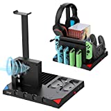 FASTSNAIL Charging Station Compatible with Nintendo Switch for Joycon , Charger Dock for Switch Pro Controller, Remote Controller Charger for Switch with Cooling Fan and Game Slot Black