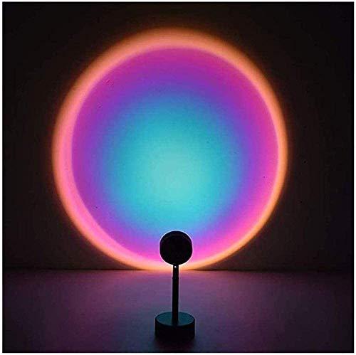 KEYREN Puesta de Sol Lámpara Proyección Rotación Rainbow Proyector Lámpara Romántico Visual LED Proyector Noche Luz con Soporte Moderno Soporte Sala de Estar Detalle Decoración (Color : Rainbow)