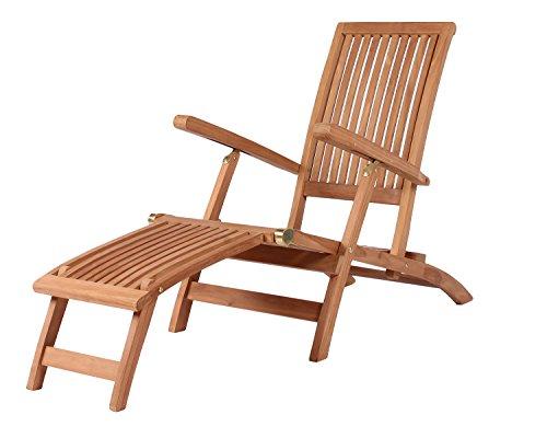 MR. DEKO Mr. Deko Deckchair Yacht - Liegestuhl aus Teak Holz - klappbar & wetterfest - Relaxliege für Garten, Balkon & Sauna - Sonnenliege mit Verstellbarer Rückenlehne - Luxus Gartenliege