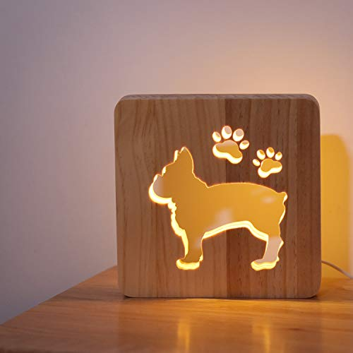 French Bull Dog Night Light, Lovely Wooden Decoration Lamp for Dog Lover, Friendship, Adult Room Decor Birthday Holiday Valentine's Day Gift for Men Women Friend - Warm White Bright LED USB Powered