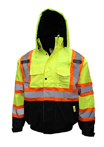 New York Hi-Viz Workwear WJX70 Herren Sicherheits-Jacke mit X-Muster, ANSI Klasse 3, wasserdicht, WJX7012, Neon Lime, Medium