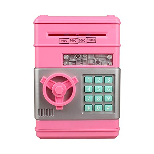 Mini ATM Piggy Bank ATM Machine Best Gift for Kids,Electronic Code Piggy Bank Money Counter Safe Box Coin Bank for Boys Girls Password Lock Case (Pink)