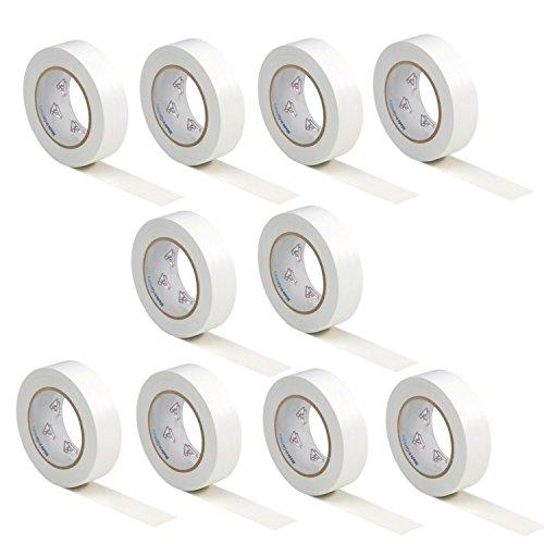10 Rollen VDE Isolierband Isoband Elektriker Klebeband PVC 15mm x 10m DIN EN 60454-3-1 Farbe: weiß