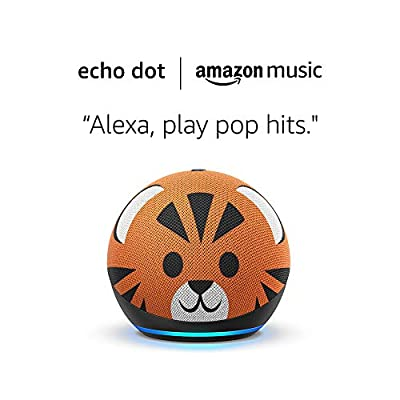 All-new Echo (4th Gen) Kids Edition and 6 months of Amazon Music Unlimited FREE w/ auto-renewal - Tiger