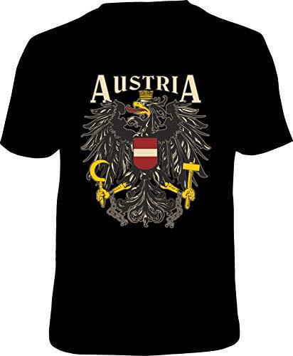 Mega Cooles T-Shirt mit Aufdruck: Austria - Ideales Andenken, Mitbringsl und Geschenk (Schwarz, XLarge)