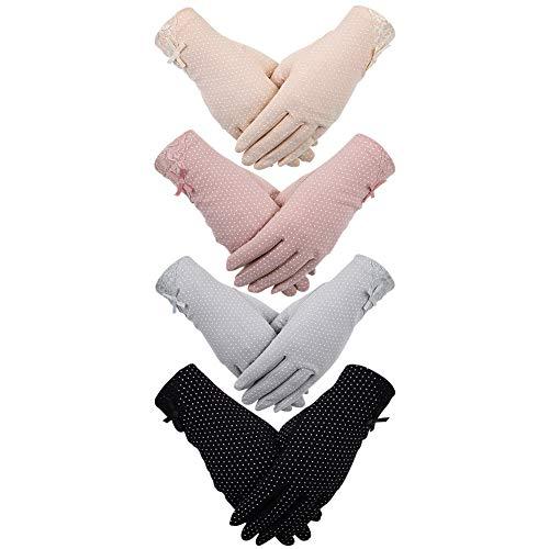 Tagaremuser Sommerhandschuhe für Damen, 4 Paar, UV-Schutz, Anti-Rutsch, für Touchscreen, Autohandschuhe, für Frühling und Sommer, Outdoor-Handschuhe für Frauen und Mädchen