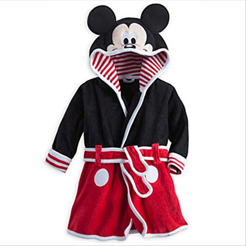 Bata de bebé para niñas Estampado de dibujos animados Minnie Mickey Albornoz de niños Pijamas de coral Cálido Infantil Ropa de niños Albornoces 2-6Y 2T Rojo