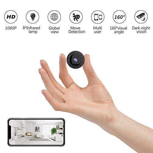 JRCMDS Mini cámara, HD 1080p cámara de vigilancia con visión nocturna, cámara inalámbrica multifuncional