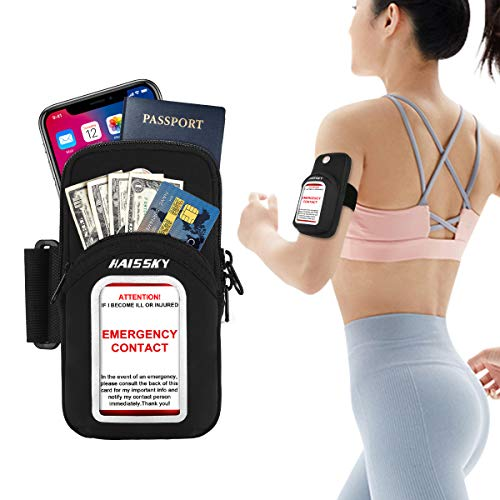 Cell Phone Armband Pouch Running Armband for iPhone 12 11 Pro Max/XS max/XR/X/8 7 Plus Samsung S20 S10 S9 S21 A10e Motorola up to 6.9', Running Phone Holder Sports Arm Bands for Gym Exercise Workouts