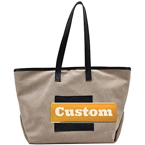 Nome personalizzato Tote per la tela scolastica sopra la borsa a tracolla Donne Grande borsa a tracolla regolabile da viaggio (Color : Kaqise, Size : One size)
