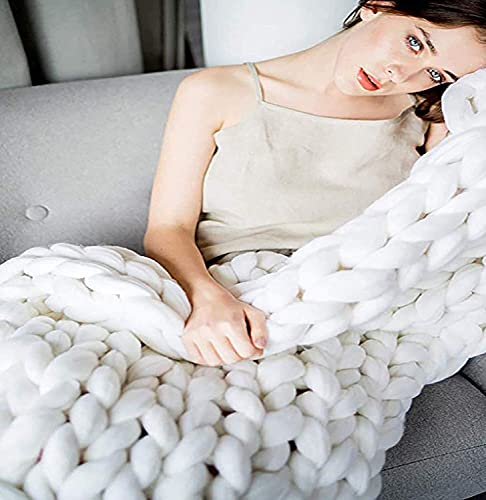 Gigante Knit Manta Chunky Knit Manta Blomky Bed Edition Handted con acogedor Tiro de lana Merino Merino, decoración para el hogar para Sofá Cama de banco de sofá (Color: Blanco, Tamaño: 120 * 150cm)