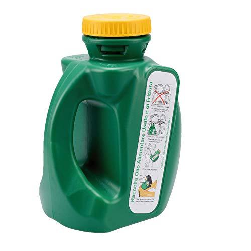 Oli 3,5LT Tanica Verde da 3.5 Litri per Il Recupero e Il contenimento dell'olio Alimentare Usato e di frittura per Raccolta differenziata con Tappo Sicurezza Bimbo e griglia filtraggio in plastica