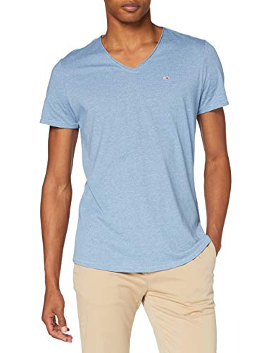 Tommy Jeans DM0DM08740 Col V T-Shirt - Homme - Bleu (Denim vintage) - S