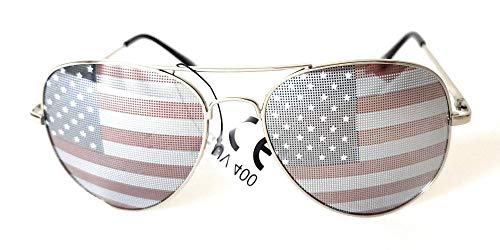 Magic Complement Aviator USA America American Flag Sunglasses - Great Accesory for 4th of July (silver, US American Flag)