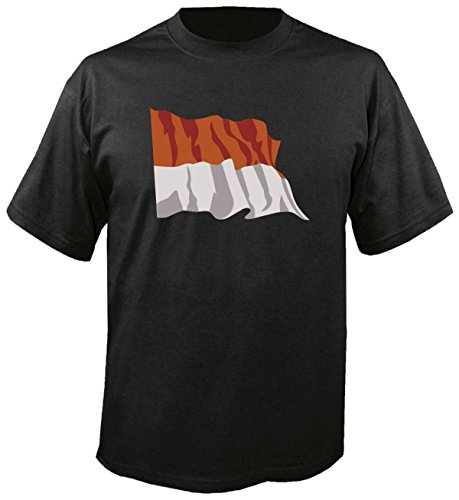 T-Shirt für Fußball LS117 Ländershirt XL Mehrfarbig Monaco - Monaco mit Fahne/Flagge - Fanshirt - Fasching - Geschenk - Fasching - Sportshirt schwarz