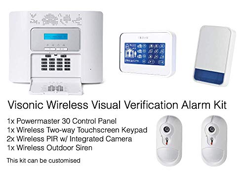 Visonic Professional Wireless Verificación visual Intruder Alarm Kit - Cámara PIR integrada - Teclado de pantalla táctil