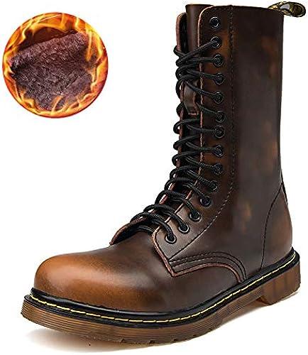 LOVDRAM Chaussures en Cuir pour Hommes Hiver Nouveau Rétro en Cuir Bottes Martin Plus Coton Antidérapant Chaussures pour Hommes Tendon High Tube Bottes pour Hommes