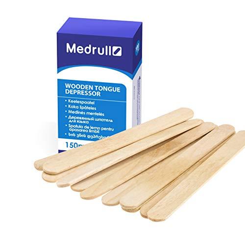 Medrull – Depresores de lengua – 100 piezas 1,8 cm x 15 cm – Palitos de madera, no estéril, para uso exterior, para aplicar pomadas o ceras – Palos para manualidades – Palos helado