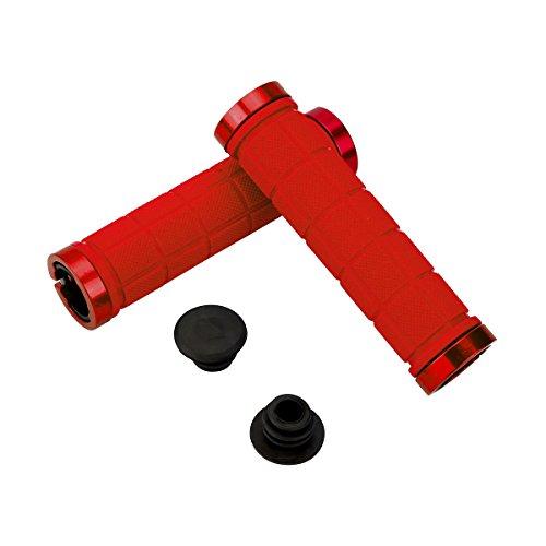 WEIYE - Puños de manillar para bicicleta, doble bloqueo, mango antideslizante, extremo de goma, agarre de bloqueo, para MTB, BMX, Mountain, Downhill, bicicleta plegable, 2 unidades, Rojo A