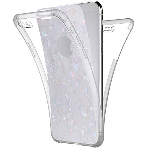 Coque iPhone 6 Etui,iPhone 6S Coque Intégral 360 Degres Avant + Arrière Full Body Protection Coque Bling Brillant Glitter Transparent Silicone Tpu Gel Clair Case Cover Housse Etui iPhone 6/6S,Blanc