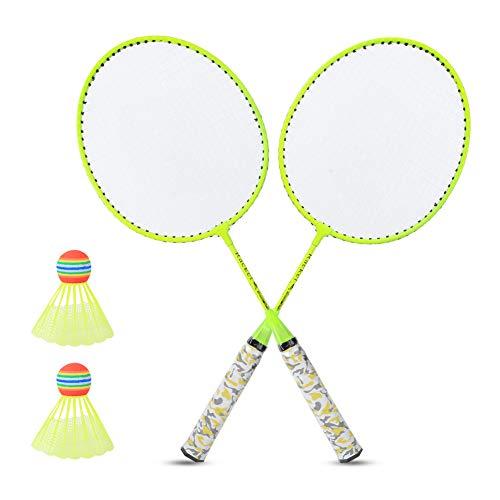 SUNGOOYUE Raquetas de bádminton Juego de Raquetas de bádminton para niños con 2 Bolas Juego de Deportes al Aire Libre Niños Niños Niñas Juguete(Amarillo Fluorescente)