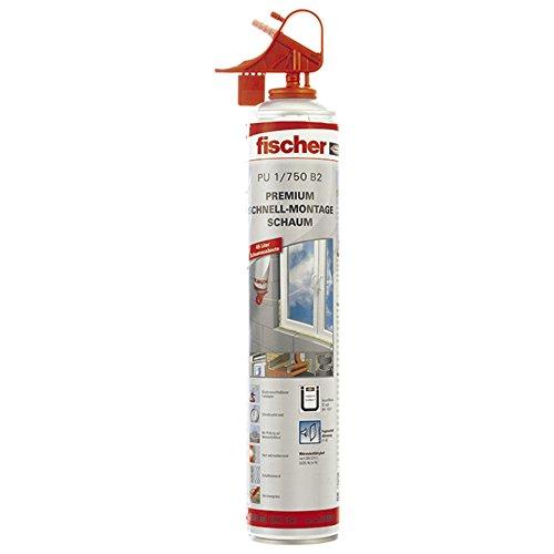 fischer 53080 Schnell-Montageschaum PU 750, Bauschaum für Verfüllung, Dämmung & Isolierung, PU-Schaum inkl. Fix-Adapter für sofortigen Einsatz & Wiederverwendung, 750 ml