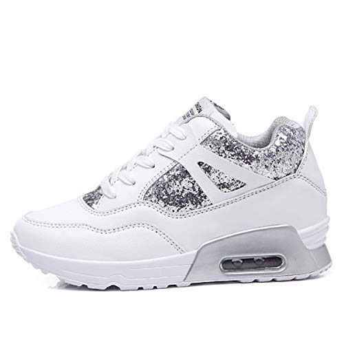AONEGOLD® Donna Scarpe da Ginnastica Sportive Fitness Sneakers Zeppa Interna Tacco 6.5 cm Casual Platform(Bianco,35 EU)