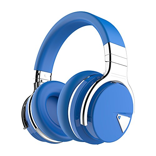 COWIN E7 Active Noise Cancelling Headphones Bluetooth Headphones with Microphone Deep Bass Wireless Headphones Over Ear, Comfortable Protein Earpads, 30 Hours Playtime for Travel/Work, Blue